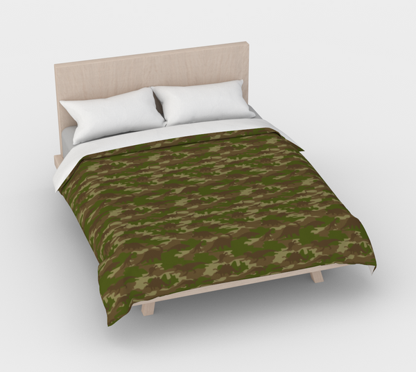 Duvet Cover in Dinosaur Camo, green and browns, for queen size bed.