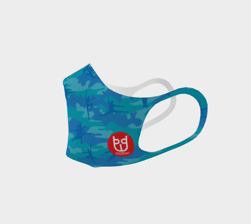 Ballet poly face mask in blue and aqua, left view.