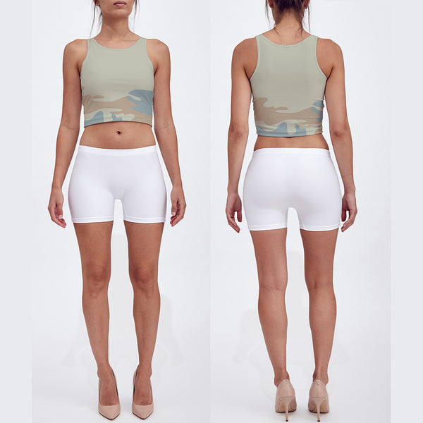 Crop Top, beige, peach and pale blue. Front/back view.