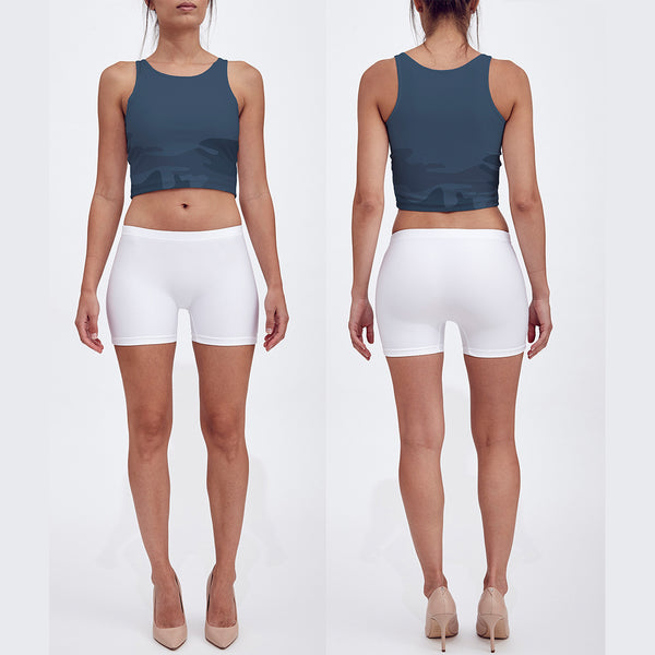 Crop Top in grays, front/back view.