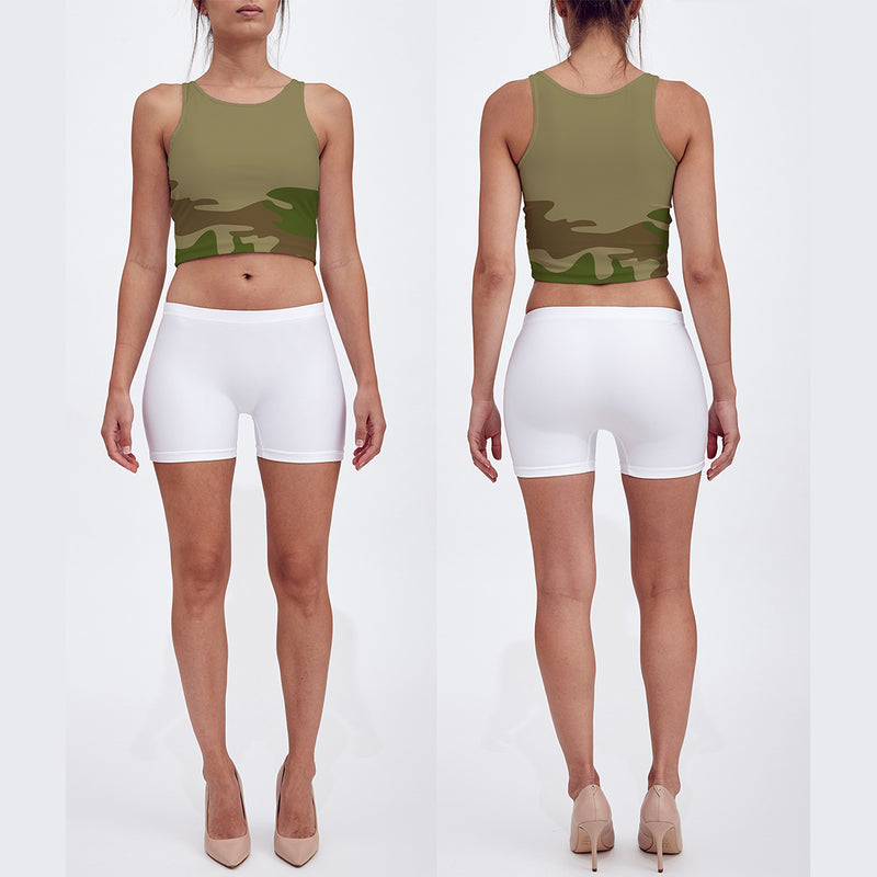 Crop Top in green and browns . Quick-dry fabric. Our model shows the crop top front and back.
