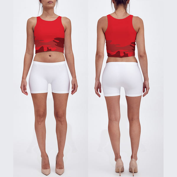 Crop Top in reds. Front/Back view.