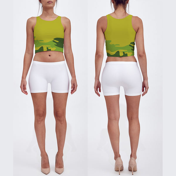 Crop Top in tropical greens. Front/Back view.