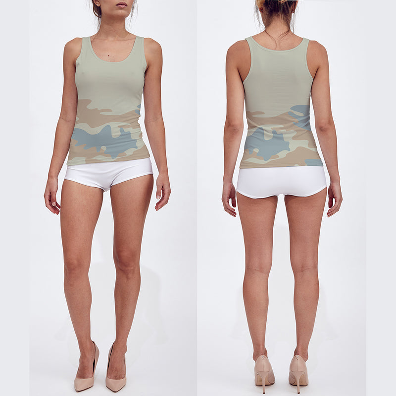 Fitted Tank Tops for Women in beige, peach and pale blue. Model displays front and back of tank top.