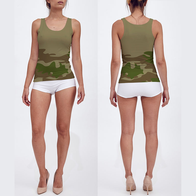 Fitted Tank Tops for Women in green and browns. Model displays front and back of tank top.