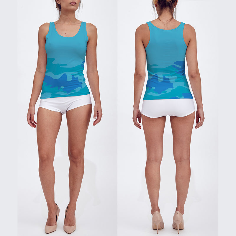 Fitted Tank Top in aquas and blue. Front/back view.