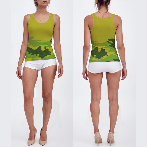 Fitted Tank Top in tropical greens, front and back view.