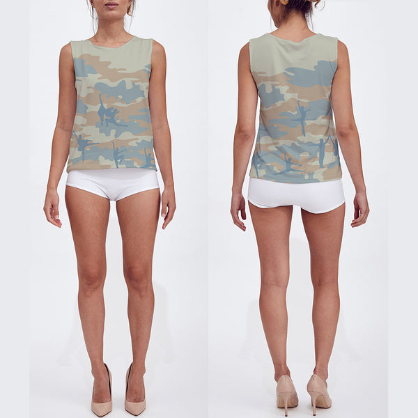Loose Tank Top in beige, peach and pale blue. Model displays front and back sides of this Ballet Camo tank top.
