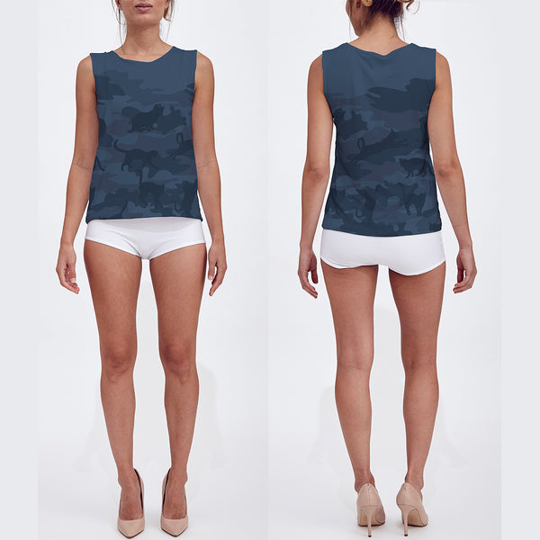 Loose Tank Top in dark grays. Model displays front and back sides of this Cats Camo tank top.