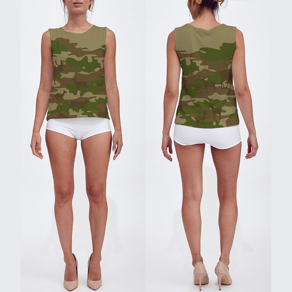 Loose Tank Top in green and browns. Model displays front and back sides of this Hunter Camo tank top.
