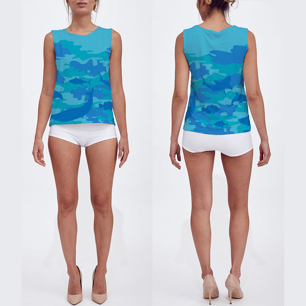 Loose Tank Top in blues and aquas. Model displays front and back sides of this Ocean Camo tank top.