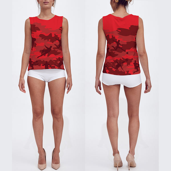 Loose Tank Top in reds and black. Model displays front and back sides of this Soccer Camo tank top.