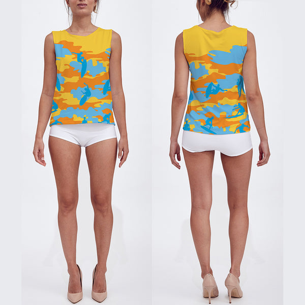 Loose Tank Top in yellow, orange and aqua. Model displays front and back sides of this Surf Camo tank top.