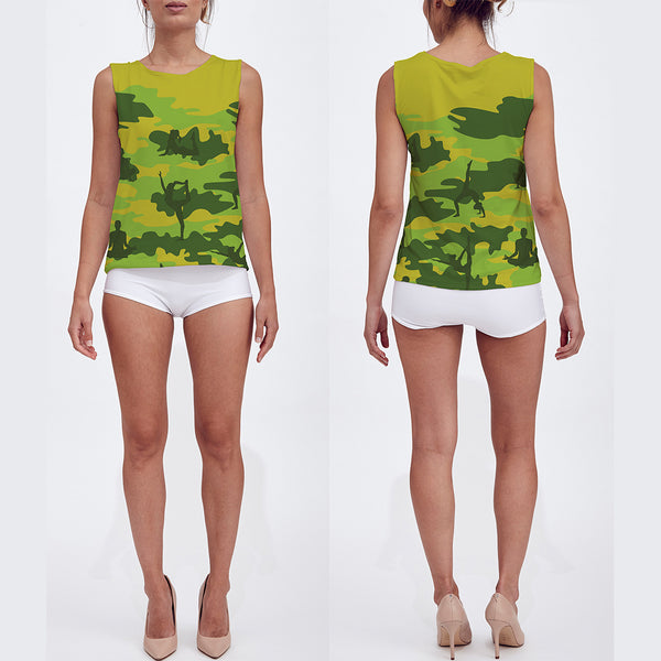 Loose Tank Top in Yoga pattern, tropical greens. Front/back view.