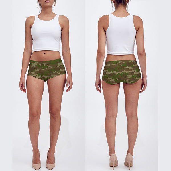 Booty Shorts | Hunter | Browns and Green - Mask Brand Camo Camouflage Design Clothing, Bags and Accessories