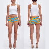 Booty Shorts in Surf pattern, yellow, orange and aqua. Front and back view.