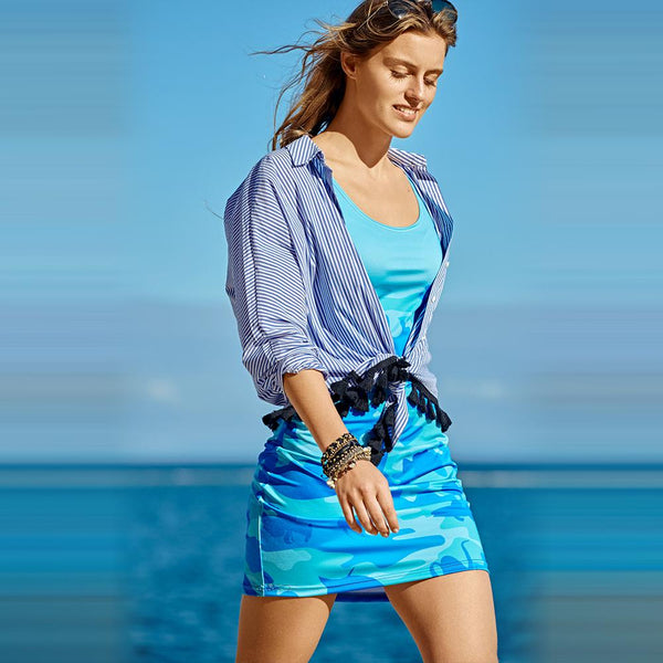 Tank Dresses in blues and aquas. Front view of model wearing Ocean Camo pattern.