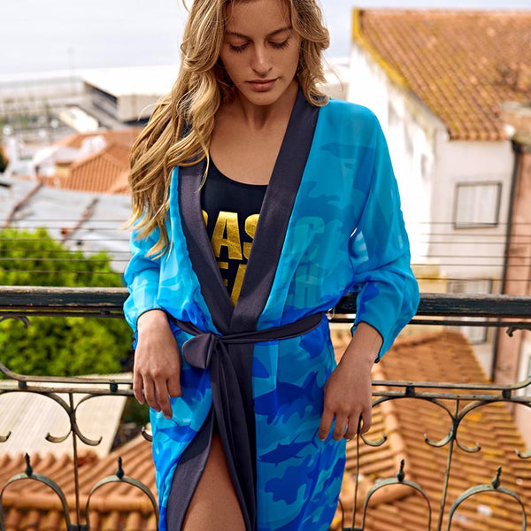 Peignoir Robe, Ocean pattern, blue and aqua. Model shot.