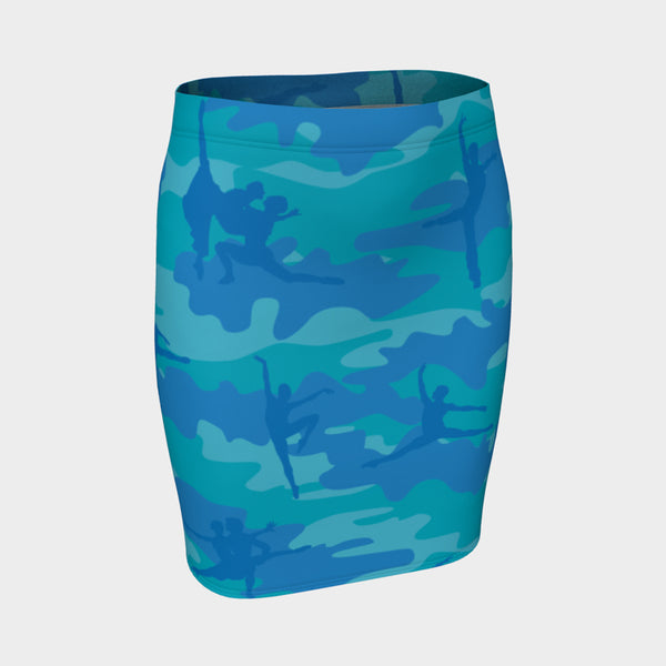 Pencil Skirt | Ballet Camo | In Blues and aquas. 3/4 view.