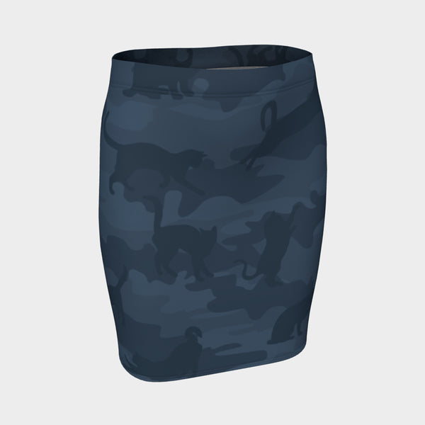 Pencil Skirt | Cats | Grays - Mask Brand Camo Camouflage Design Clothing, Bags and Accessories