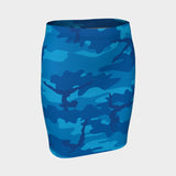 Pencil Skirt in Gymnastics pattern, blues. Front view.
