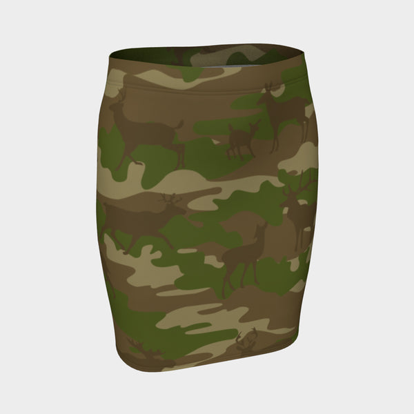 Pencil Skirt | Hunter | Brown and Green - Mask Brand Camo Camouflage Design Clothing, Bags and Accessories