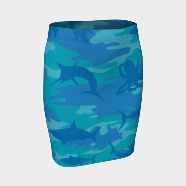 Pencil Skirt | Ocean | Blue and Aqua - Mask Brand Camo Camouflage Design Clothing, Bags and Accessories