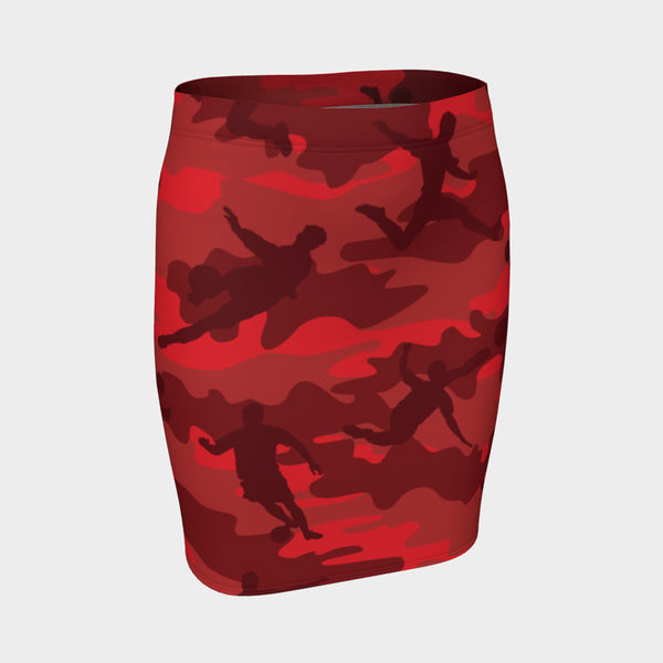 Pencil Skirt in Soccer pattern, reds and black. Front view.