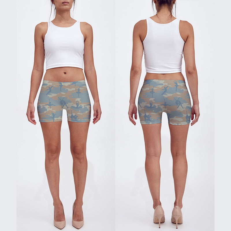 Shorts in beige, beach, pale blue. Front and back of our Ballet camo shown.
