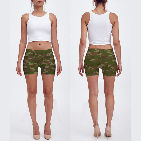 Shorts in browns and green. Model shows front and back of our Hunter Camo.