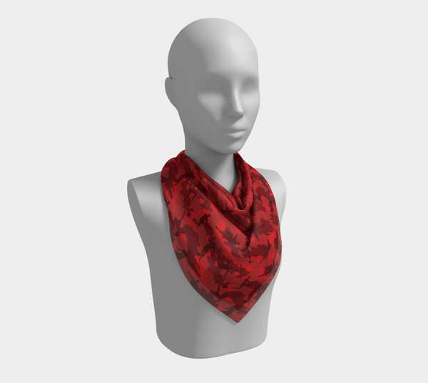 Soccer Camo Scarf | Square | In reds and black. This mannikin is wearing the 26x26 inch size scarf.