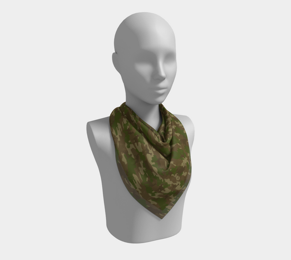 Hunter Camo Scarf | Square | In browns and green. This mannikin is wearing the 26x26 inch size scarf.