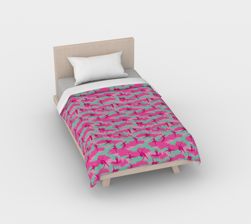 Duvet Cover in Ballet Camo, in pinks and pale blue, for twin size bed.