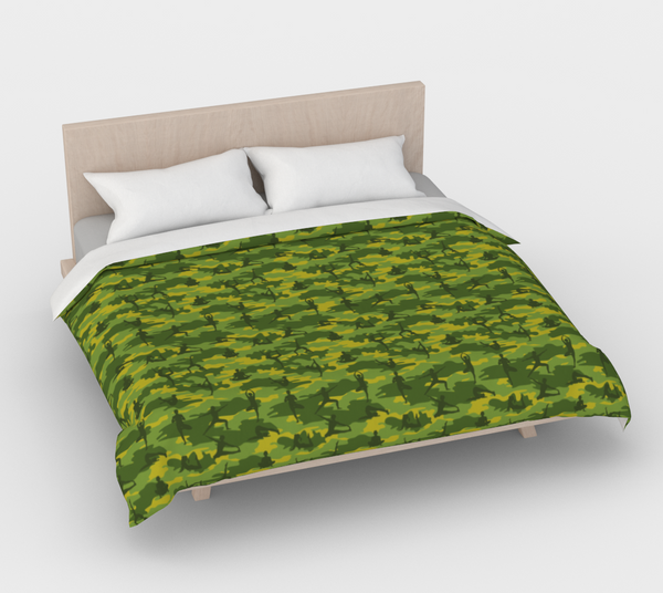 Duvet Cover in Yoga Camo, on greens, for king size bed.