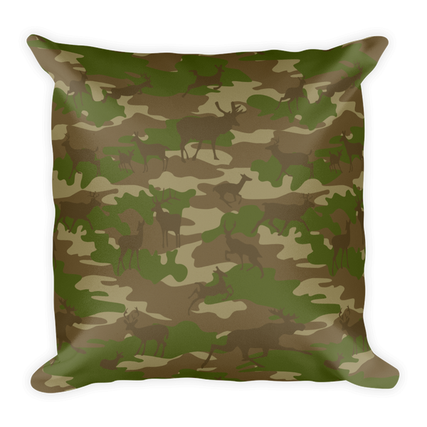 Camo Pillow | Hunter Camo In Browns and Green - Back view