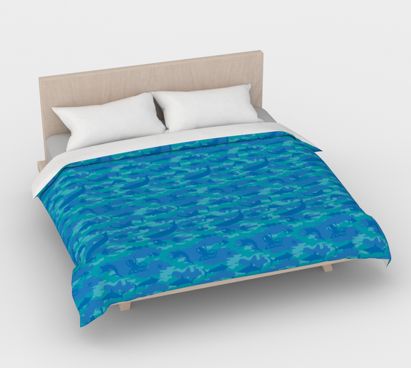 Duvet Cover in Ocean Camo, in blues and aquas, for king size bed.