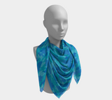 Ocean Camo Scarf | Square | In blues and aquas. This mannikin is wearing the 50x50 inch size scarf. It is large enough to be a tablecloth, or a make-shift dress.