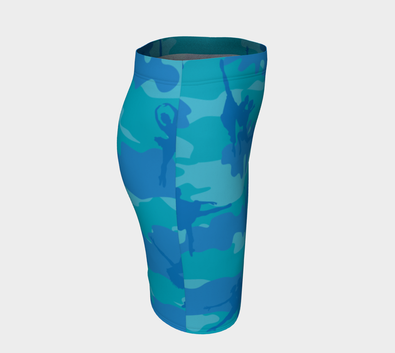 Pencil Skirt | Ballet Camo | In Blues and aquas. Right side view.