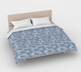 Duvet Cover in Snowboard Camo, in light grays, for king size bed.