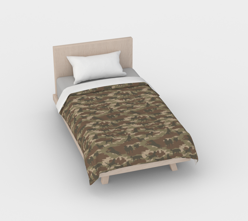 Duvet Cover in Dogs Camo, in browns, for twin size bed.