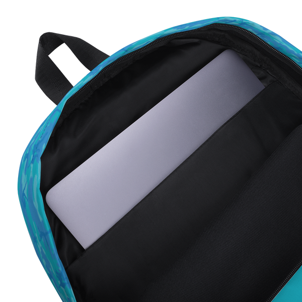 Camo Backpack | Ballet | In Blues and Aquas. Inner, padded laptop sleeve.