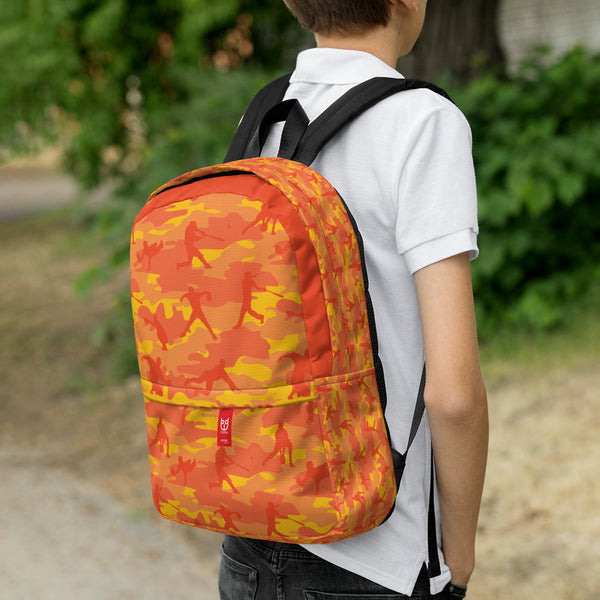 Boy wearing Camo Backpack | Baseball | In Orange. 3/4 view.