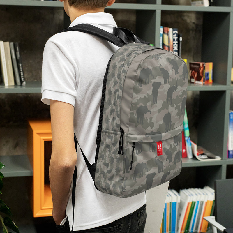 Camo Elephants Backpack In Grays. 3/4 view model shot.