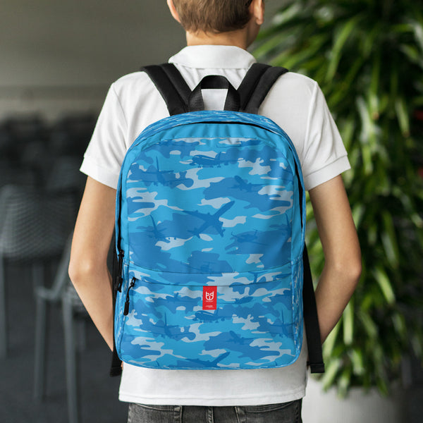 Camo Backpack | Planes | In Blues. Front view with model.