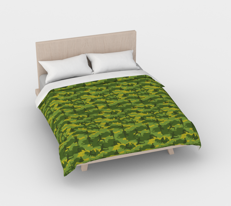 Duvet Cover in Yoga Camo, in greens, for full/double size bed.