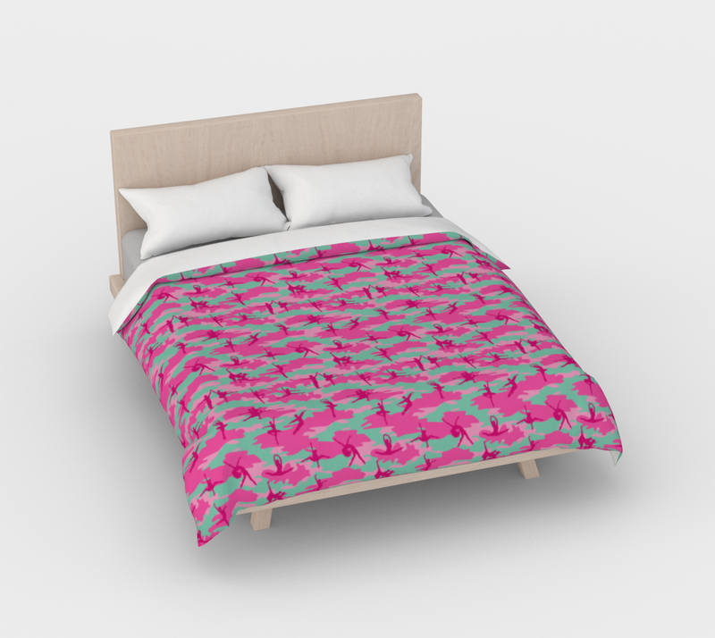 Duvet Cover in Ballet Camo, in pinks and pale blue, for full/double size bed.