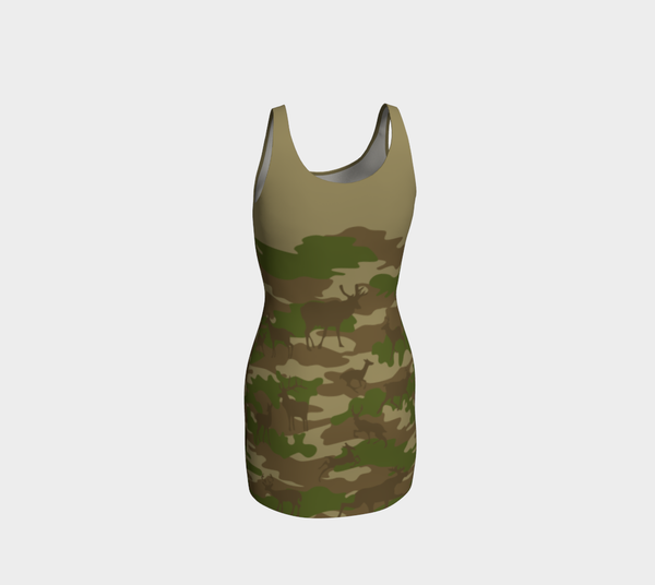 Tank Dresses in browns and green. Back view of Hunter Camo pattern.