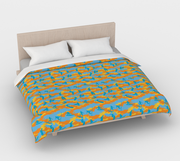 Duvet Cover in Surf Camo, in yellow, orange and aqua, for king size bed.