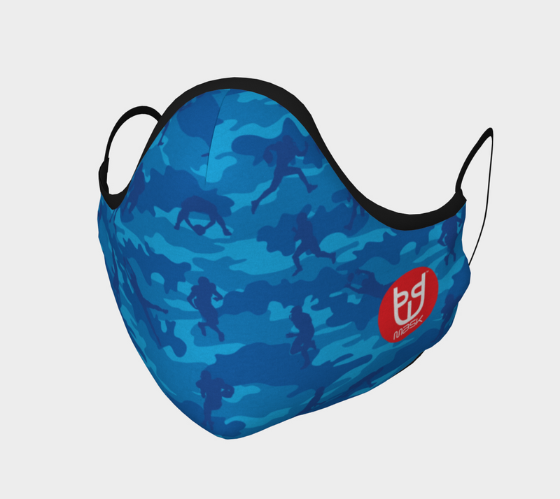 Cotton Face Mask | Football Camo | Blues - Mask Brand Camo Camouflage Design Clothing, Bags and Accessories