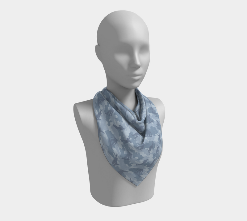 Snowboard Camo Scarf | Square | In light grays. This mannikin is wearing the 26x26 inch size scarf.